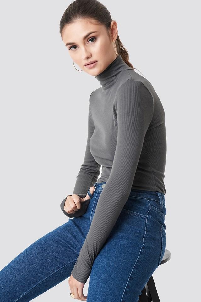 Long Sleeve Polo Top Dark Grey