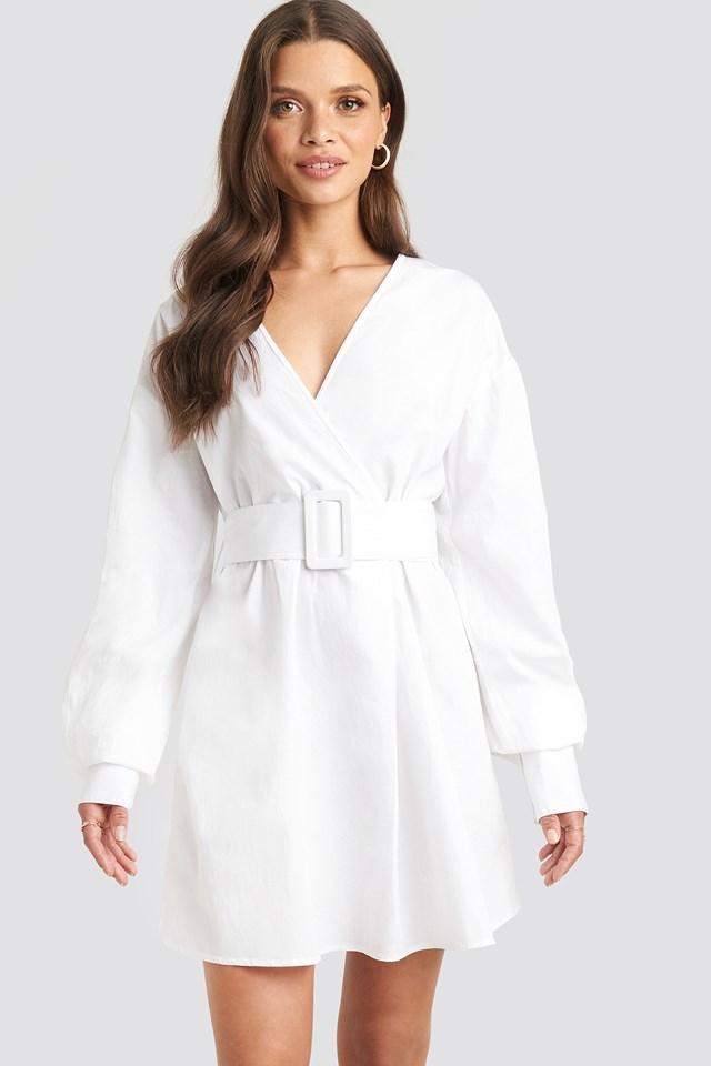 Belted Long Sleeve Shirt Dress White