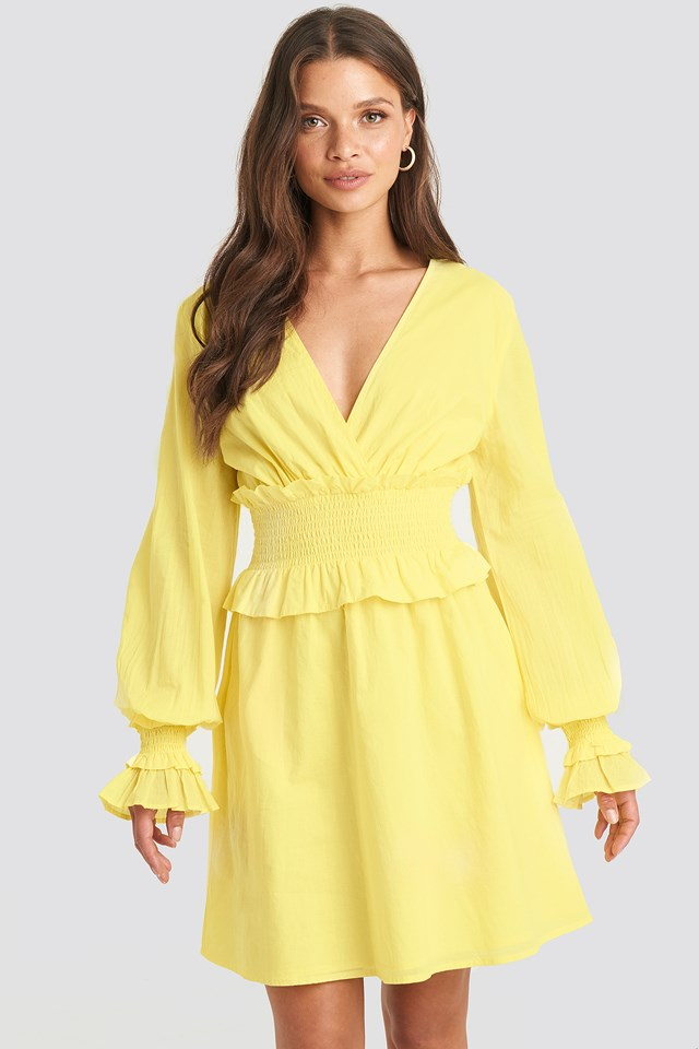 Smocked Detailed Mini Dress Bright Yellow