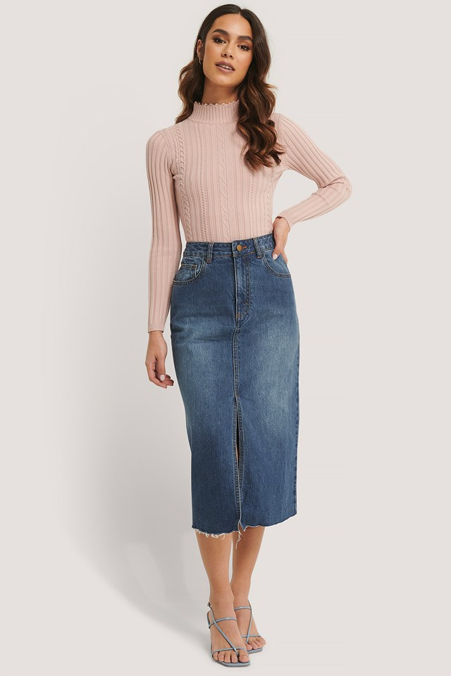 Midi Denim Skirt Blue Denim