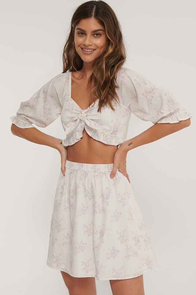 High Waist Mini Skirt Lilac Flower