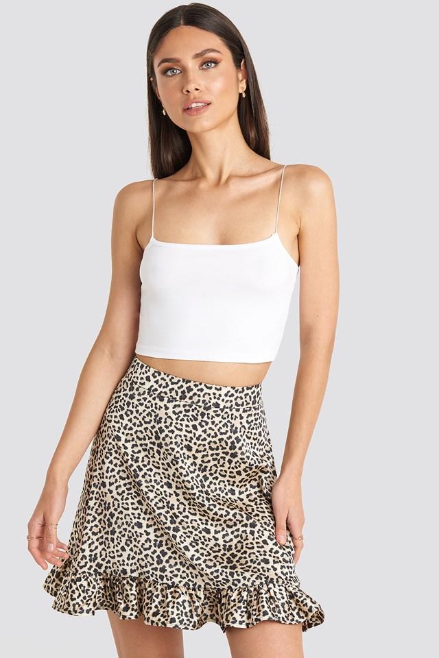 Leopard Flounce Mini Skirt