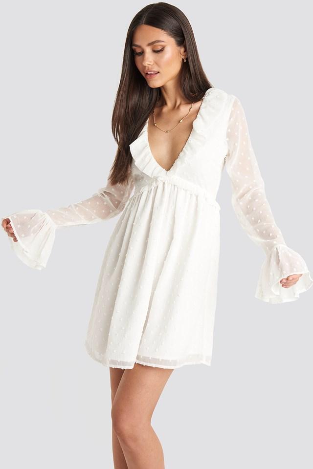 Frill Detail LS Dress White