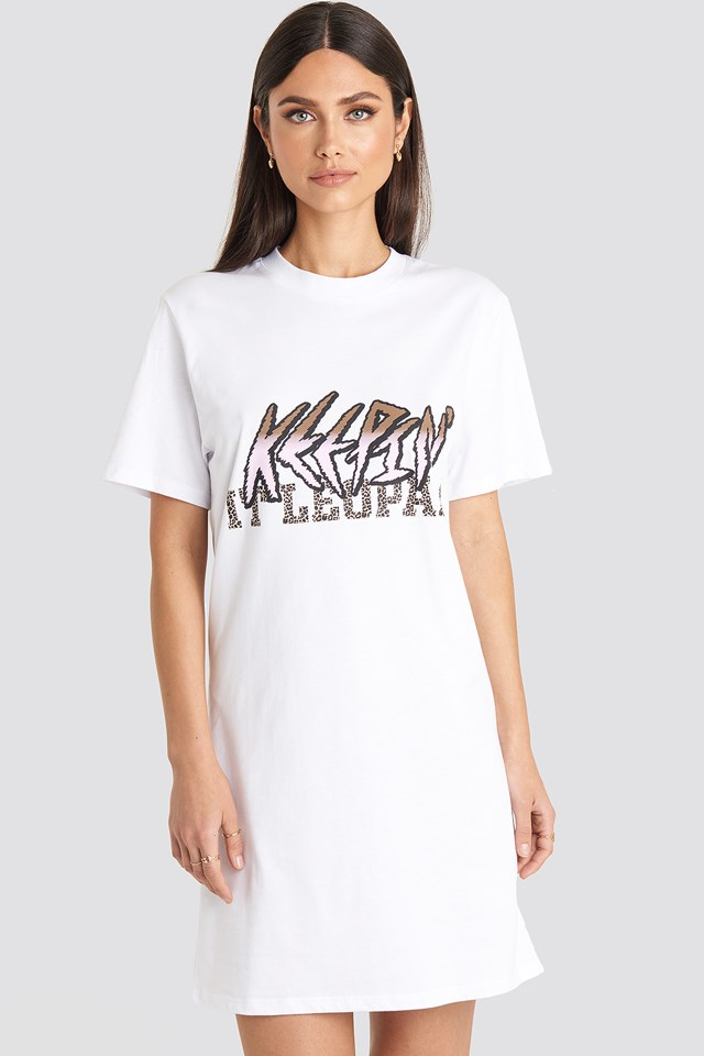 Keepin It T-shirt Dress White