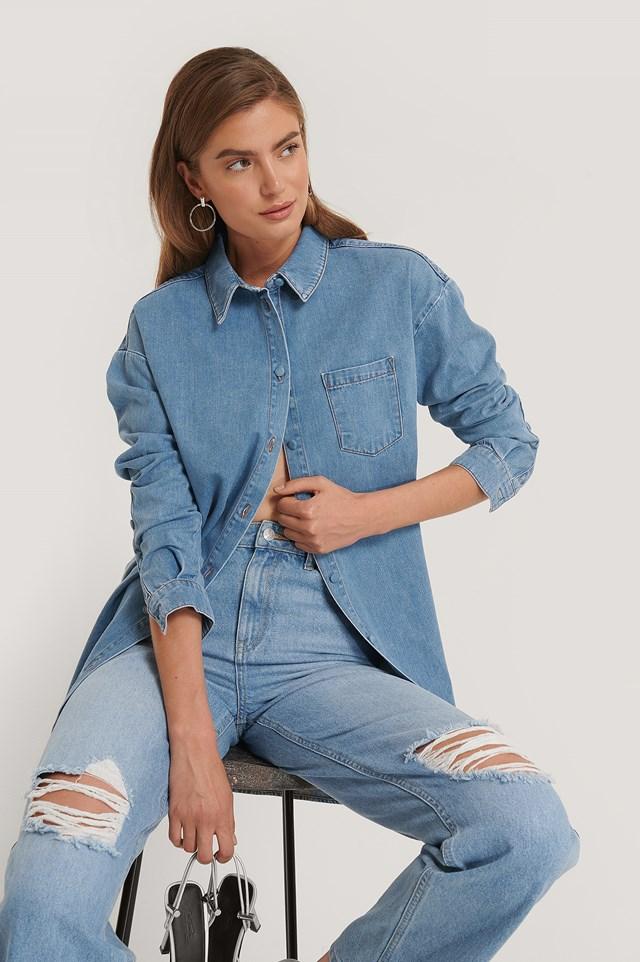 Blue Chest Pocket Denim Shirt