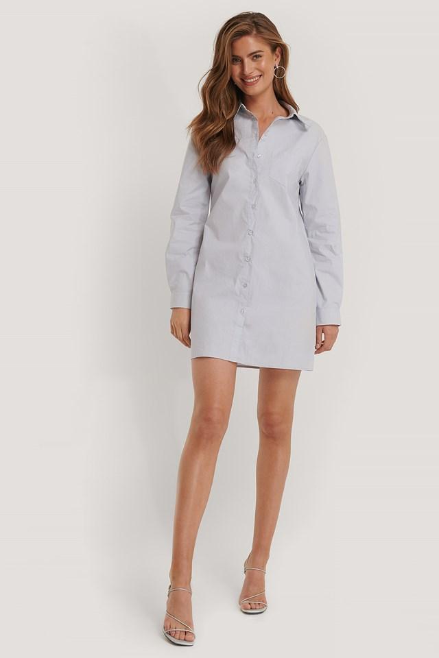 Pearl Blue Chest Pocket Shirt Dress