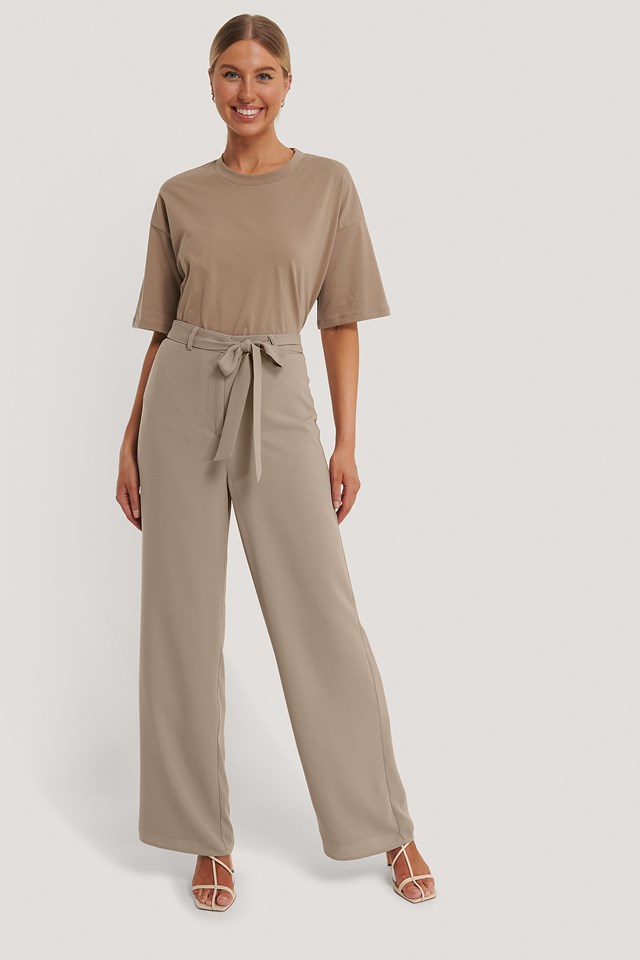 Taupe Loose Fit Belt Trousers