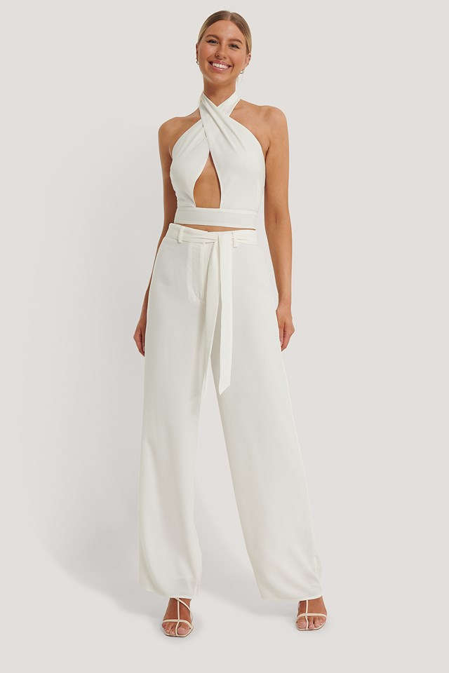 Loose Fit Belt Trousers Offwhite