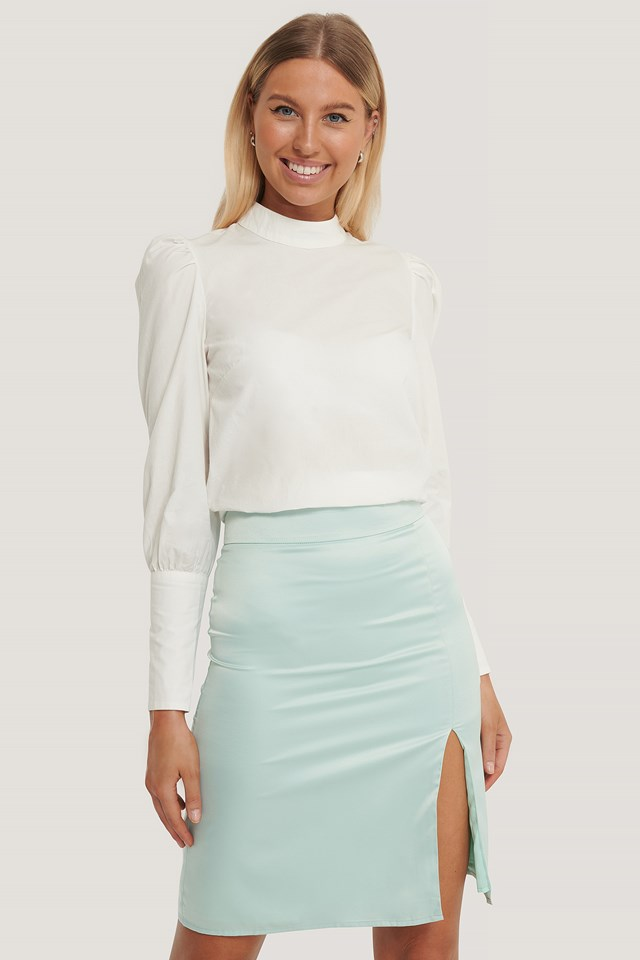 Satin Slit Skirt Mint