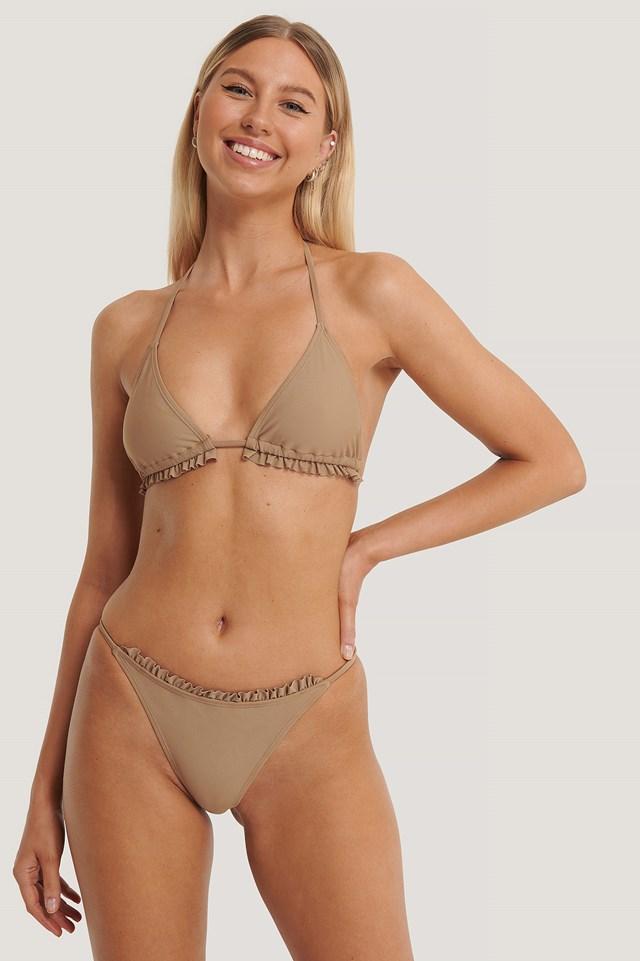 Taupe Thin Strap Frill Bikini Briefs