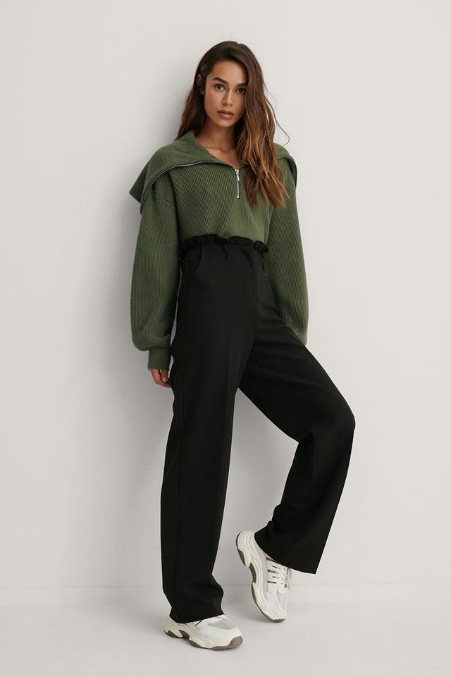 Black Petit Paperbag Suit Pants