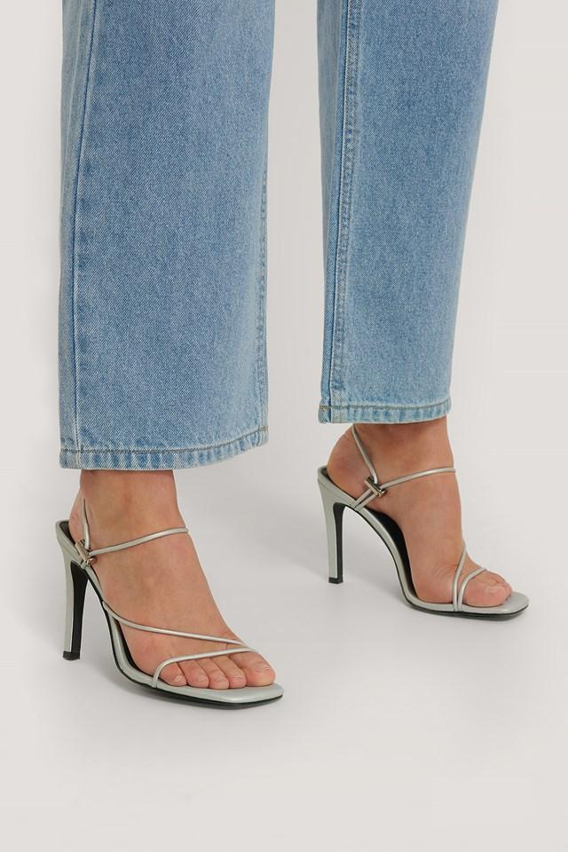 Strap High Heels Silver