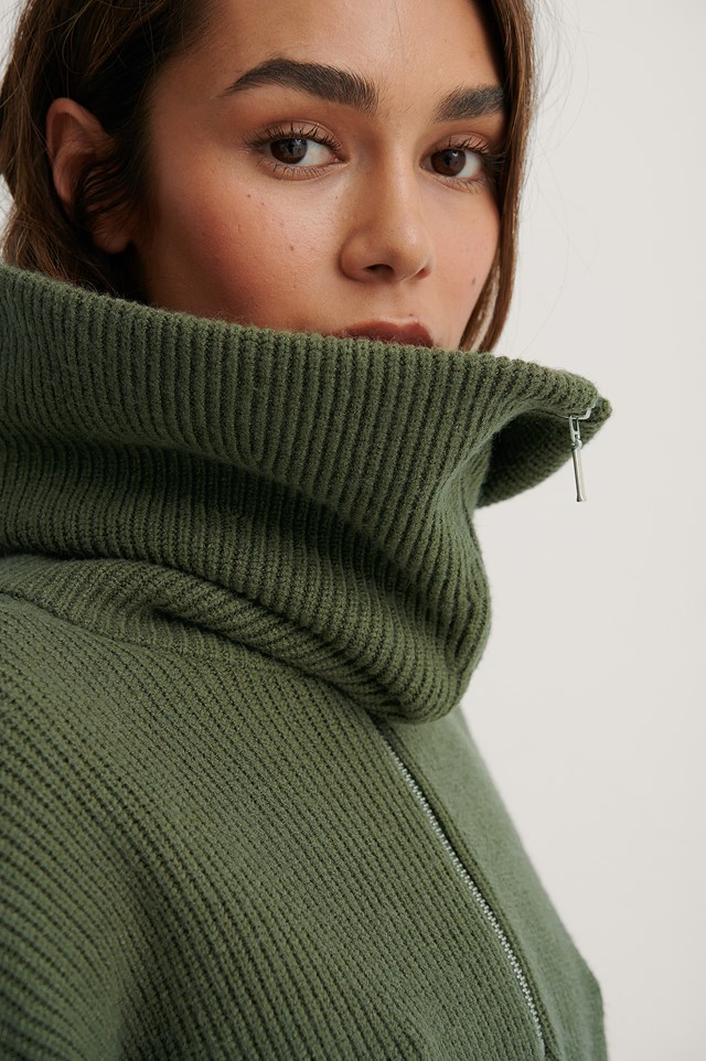 Khaki Wide Neck Zip Knitted Sweater