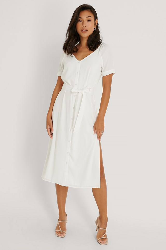 Front Button Shirt Dress Offwhite