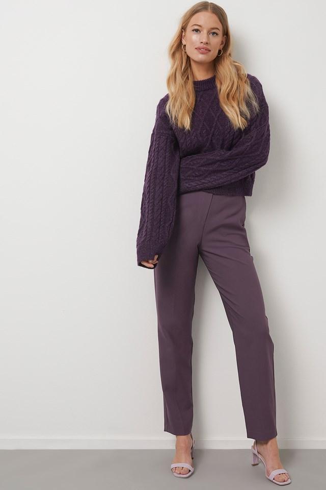 Straight Suit Pants Plum