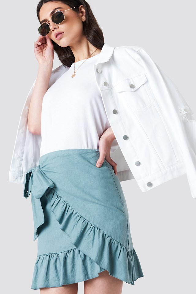 Side Knot Frill Skirt Dusty Green