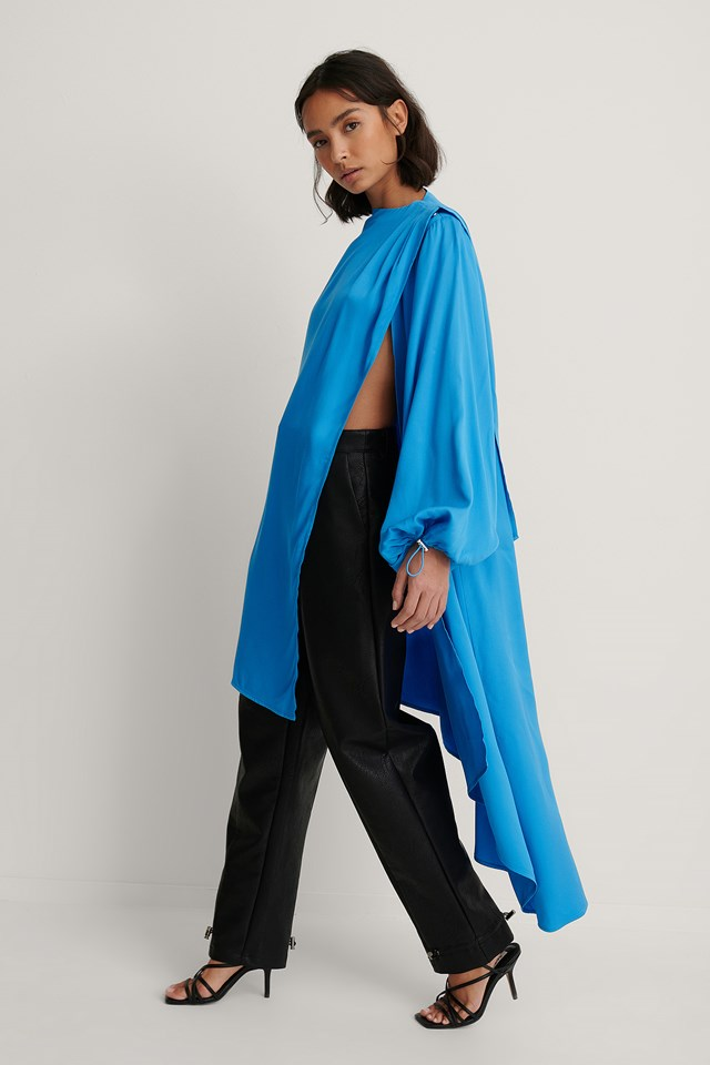 Balloon Sleeve Asymmetric Volume Caftan Turquoise