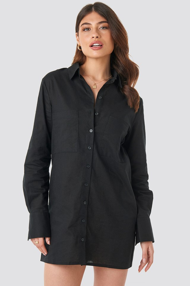 Oversized Shirt Dress Black