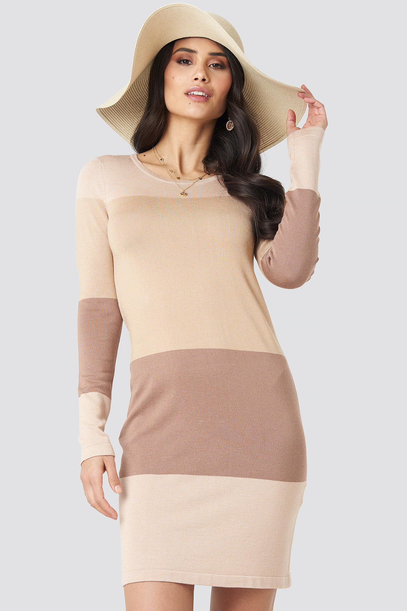 Light Beige Light Knit Blocked Dress