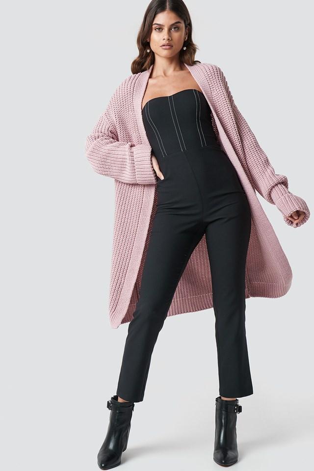 Long Knitted Cardigan Blush