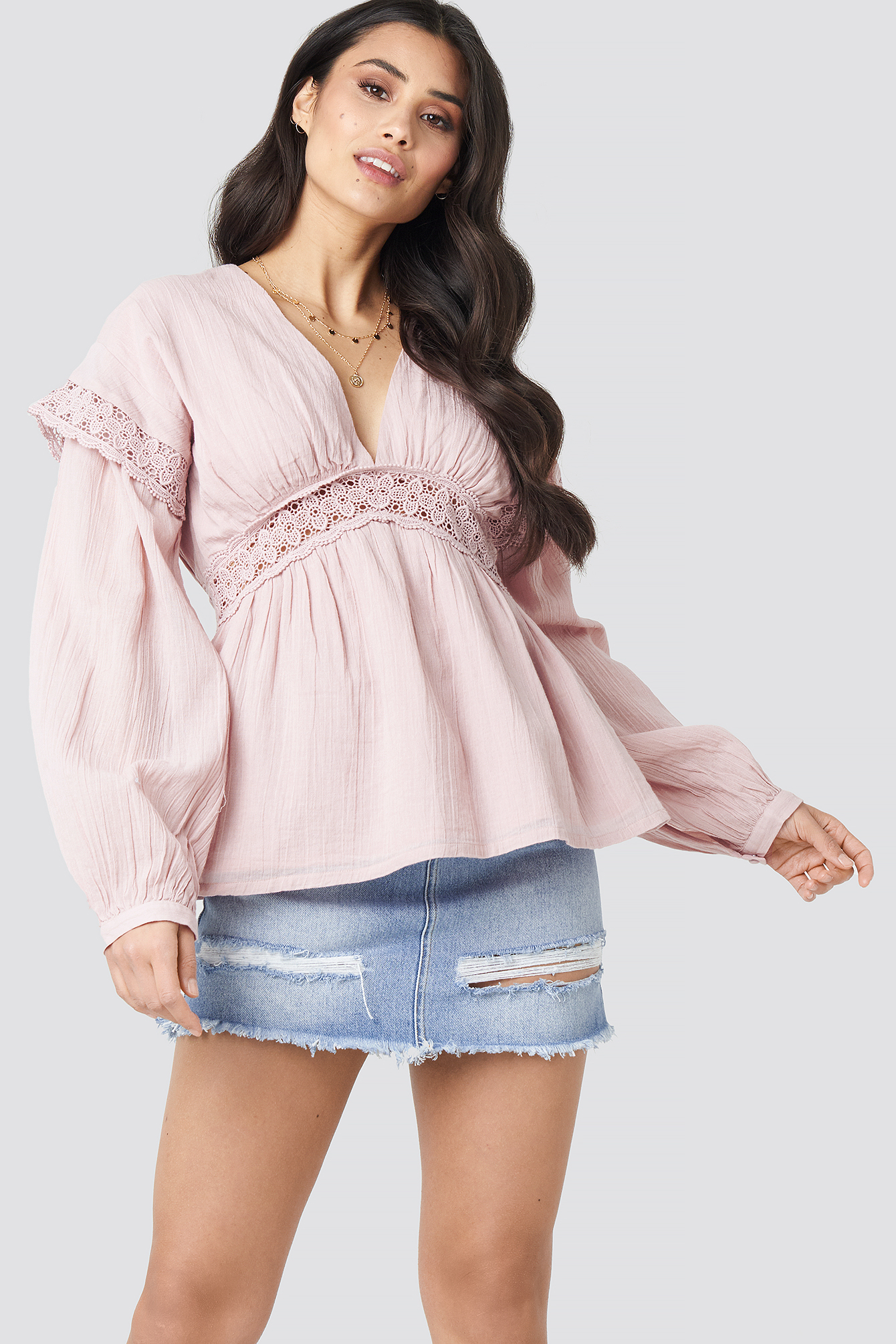 Dusty Light Pink Puff Sleeve Blouse