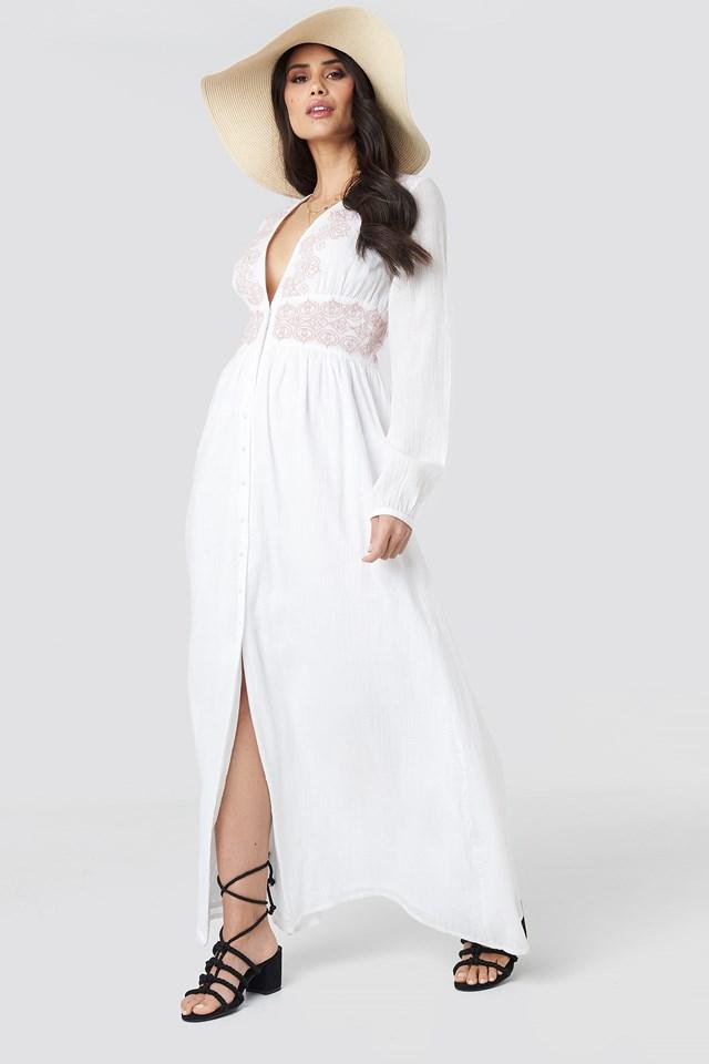 Waist Detail Button Up Dress White