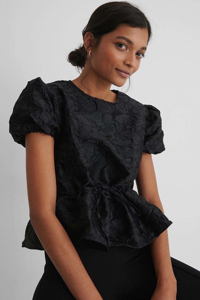Black Structured Drawstring Top
