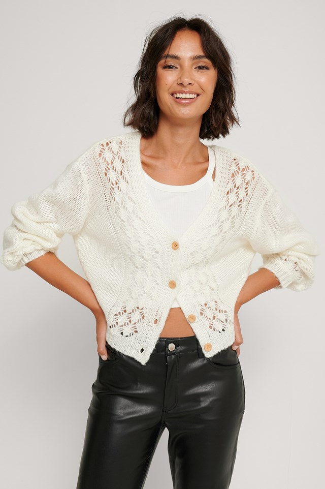 Pattern Knitted Cropped Cardigan Offwhite