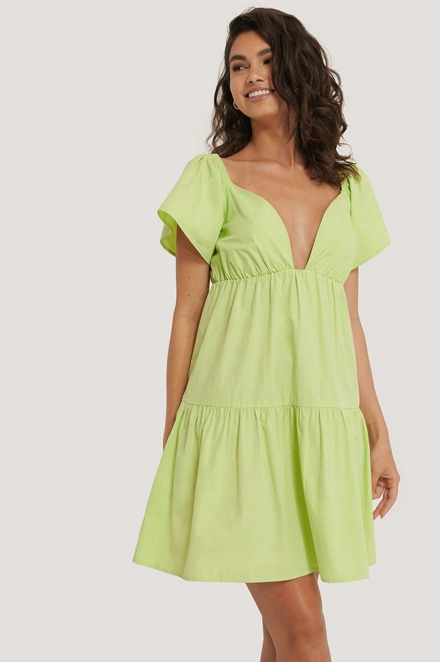 Flounce Shoulder Mini Dress Green