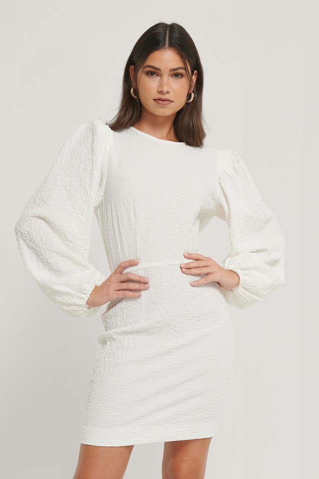 Volume Sleeve Structured Dress White