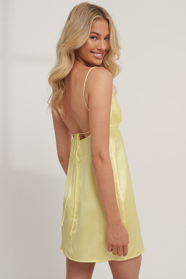 Tie Back Satin Dress Lemon