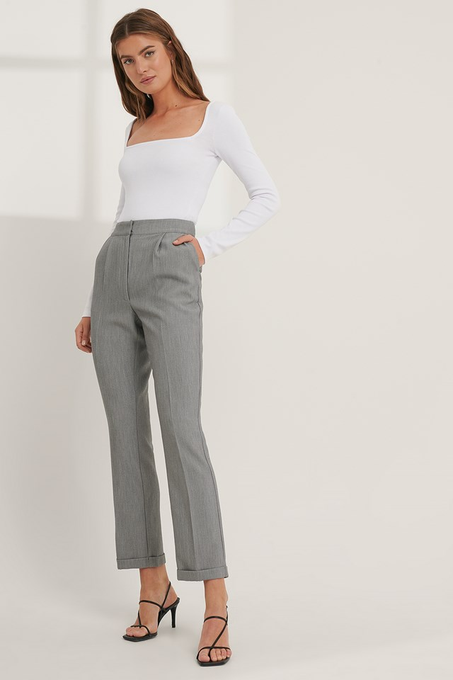 Fold Up Suit Pants Grey