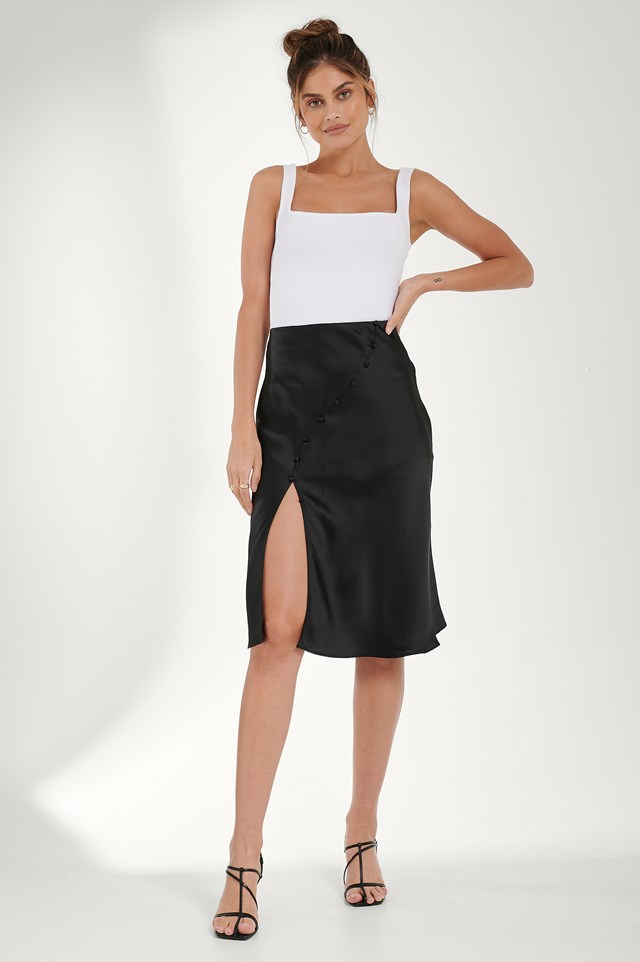 Button Detail Satin Skirt Black