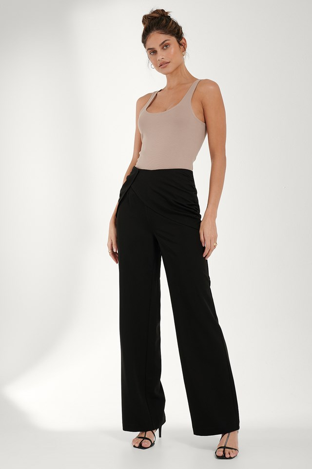 Draped Detail Pants Black