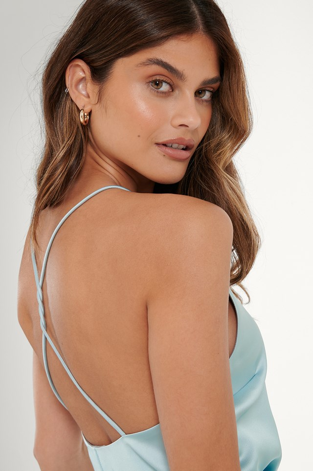 Open Back Satin Singlet Ice Blue