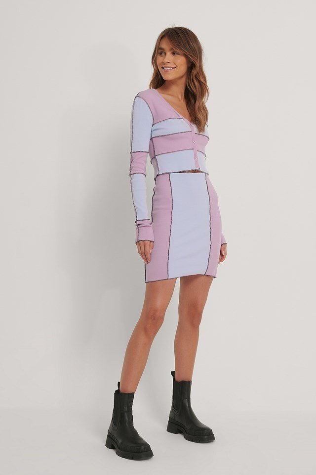 Colour Blocked Skirt Dusty Pink