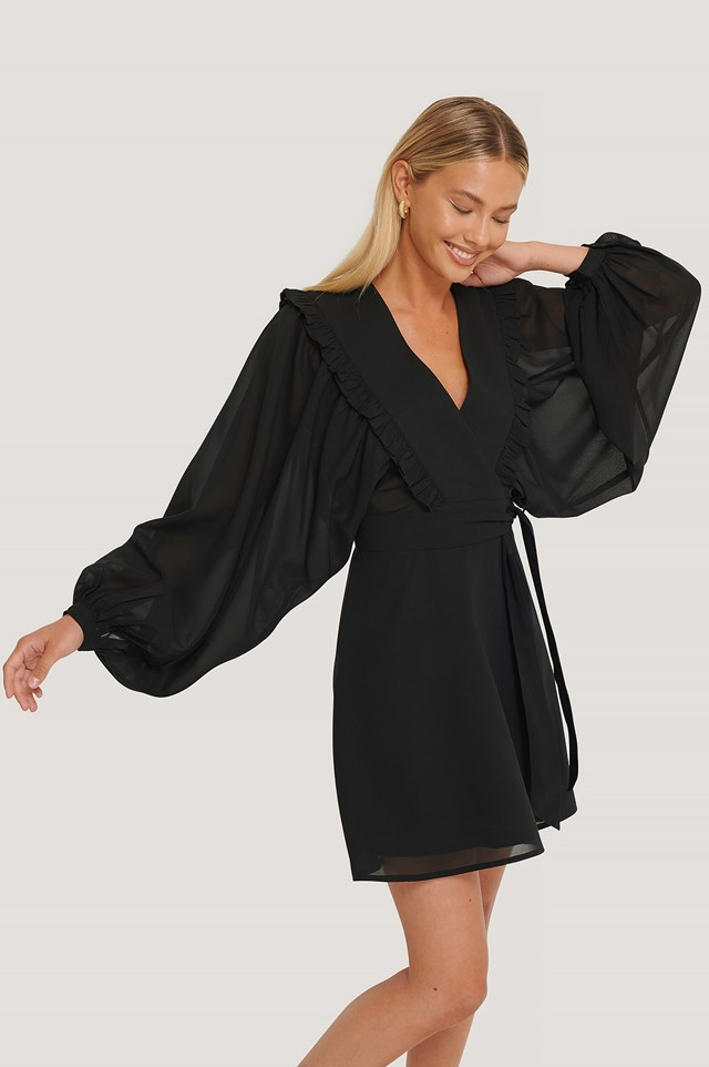 Deep V-neck Wrap Around Mini Dress Black