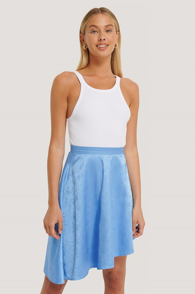Flowy Jacquard Mini Skirt Blue