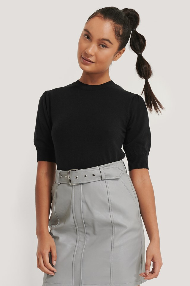 Short Sleeve Knitted Top Black