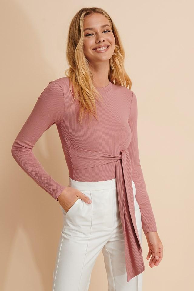 Wrap Long Sleeve Top Dusty Pink