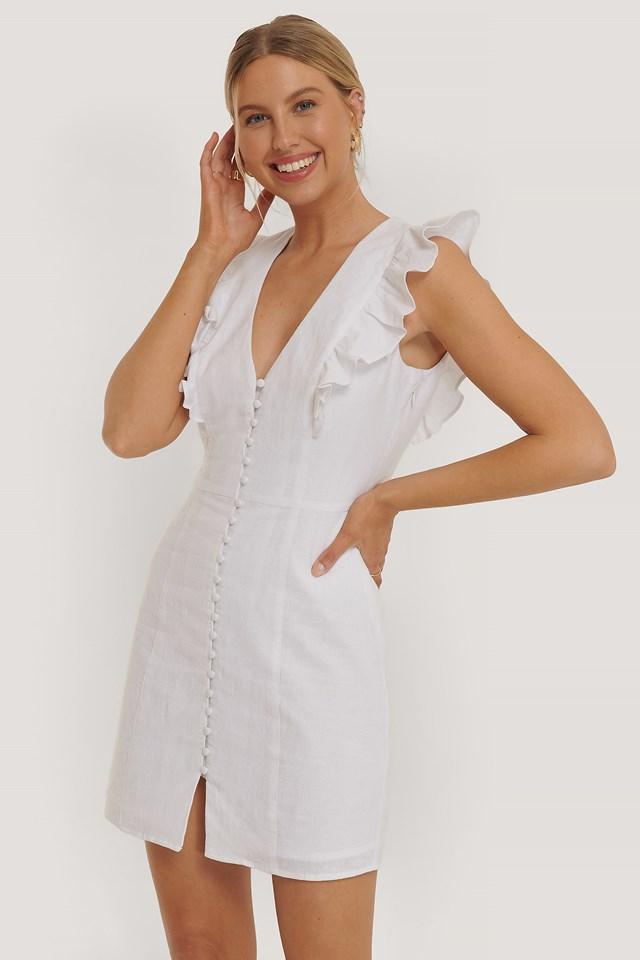 Flounce Front Button Mini Dress White
