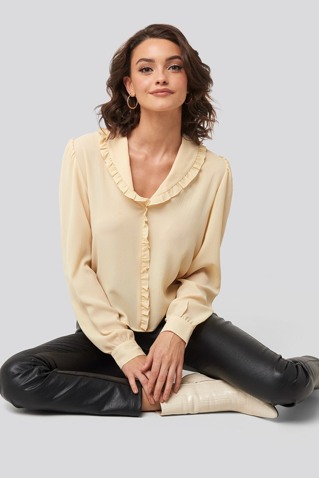 Frill Detail Puff Sleeve Blouse Beige