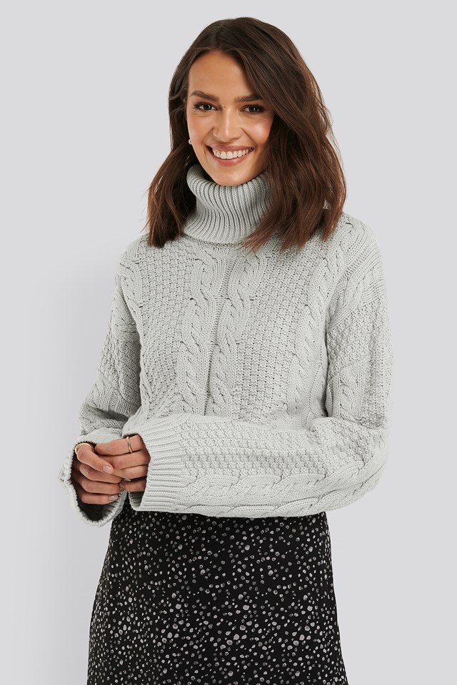 High Neck Knitted Sweater Grey