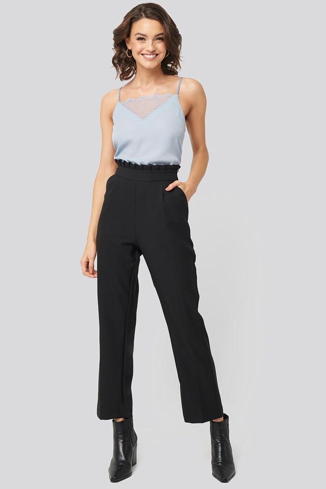 Black Pleat Detail Suit Pants