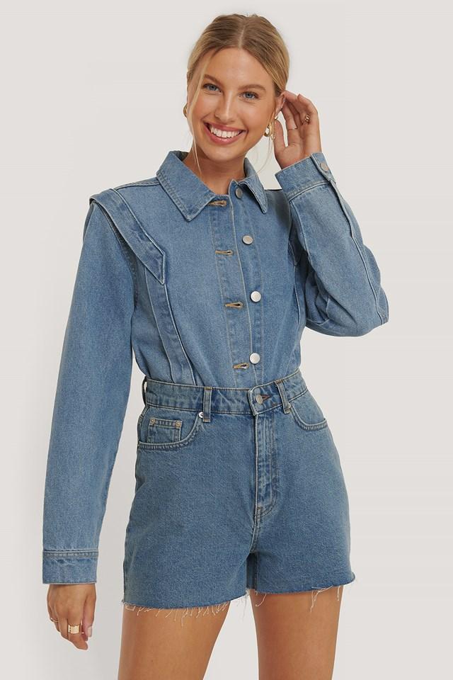 Shoulder Detail Short Denim Jacket Blue