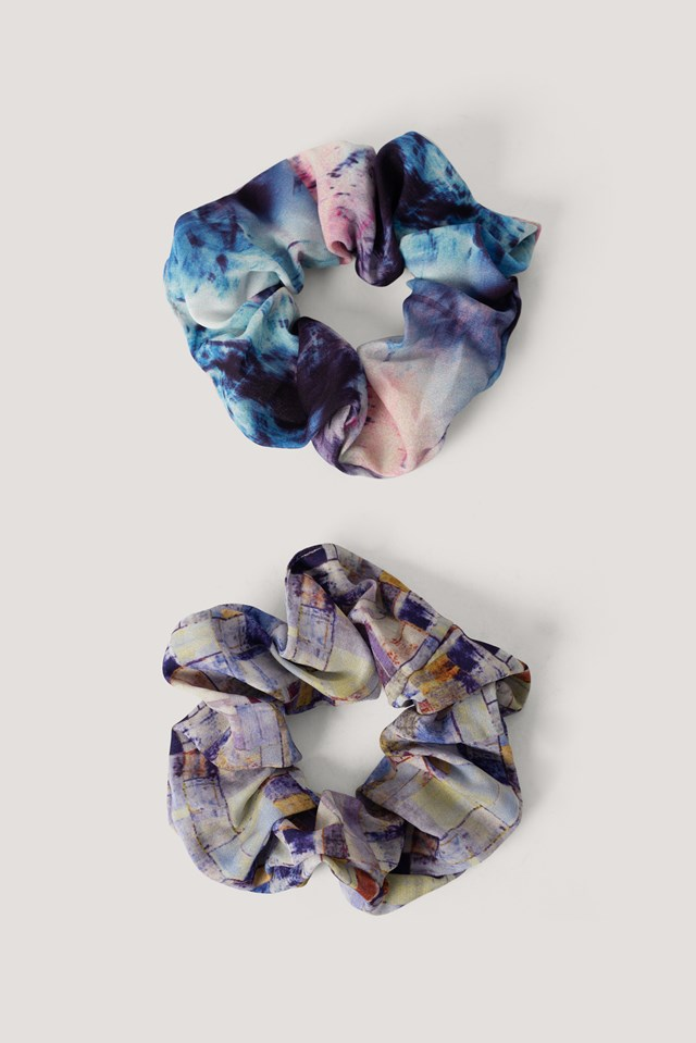 2-Pack Abstract Color Print Scrunchies Mixed