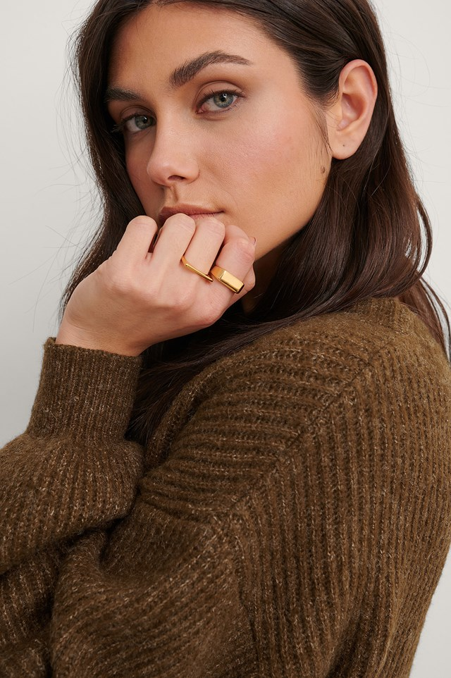 Gold 2-Pack Gold Plated Squared Rings