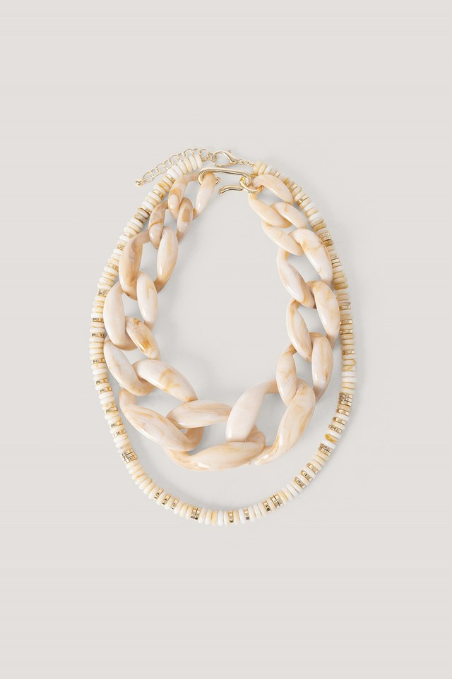 2-Pack Oversize Resin Necklace Nude