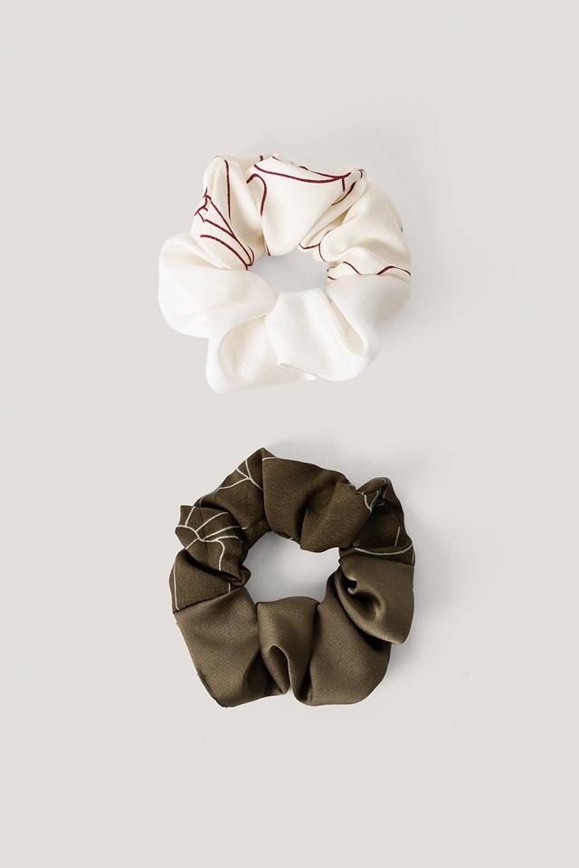 2-pack Slim Blossom Line Scrunchies Khaki Sand