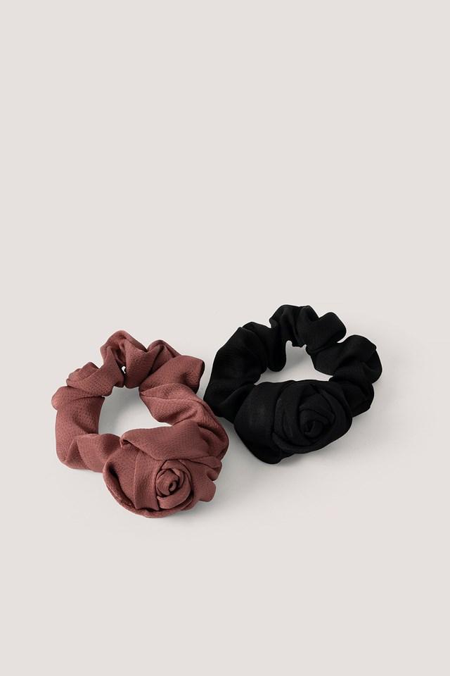 2-Pack Shiny Rose Scrunchies Burgundy/Black Dots